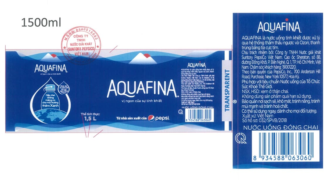 nhan chai aquafina 1500ml moi