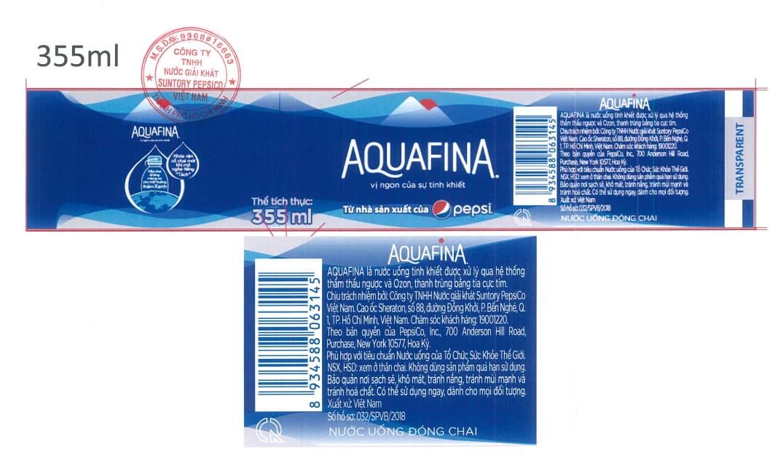 nhan chai aquafina 355ml moi