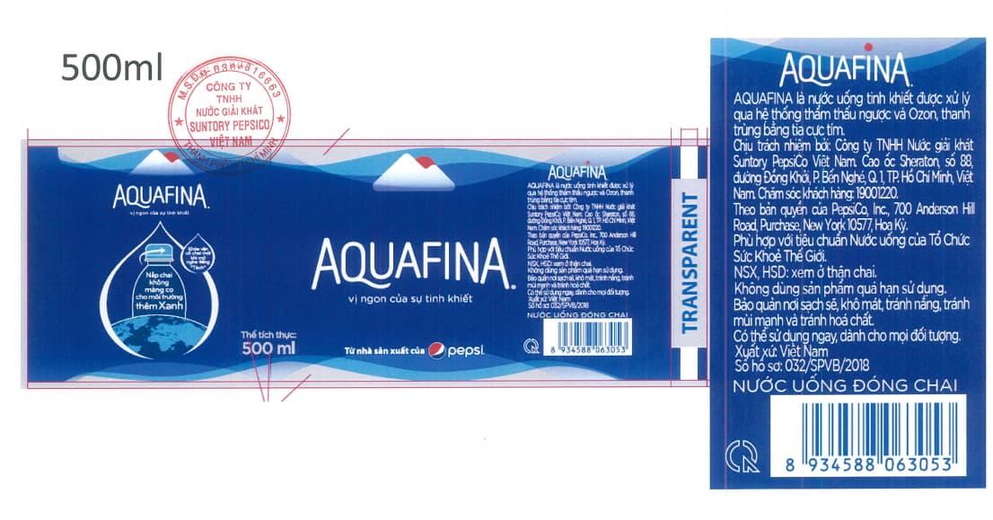 nhan chai aquafina 500ml moi